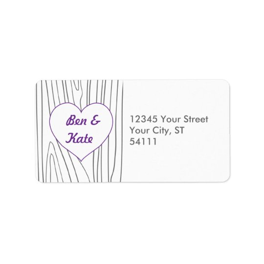 Wood Grain Address Labels - Purple and Grey