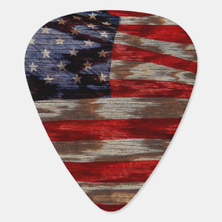 Wood grain American flag Plectrum