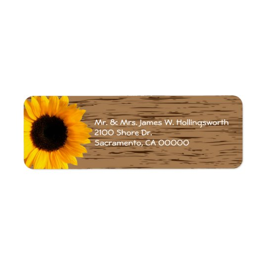 Wood Grain and Sunflower Custom Return Address Return Address Label