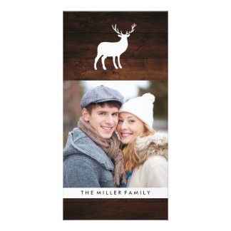 Wood Grain and White Stag | Holiday Personalized Photo Card