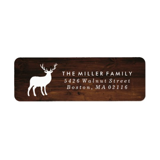 Wood Grain and White Stag | Holiday Return Address Label