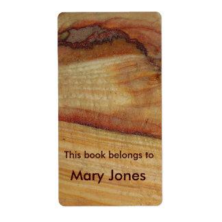 Wood Grain Bookplate Shipping Label