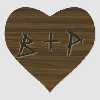 Wood Grain Carved Initials Heart Stickers - Seals