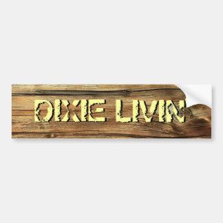 Wood Grain Dixie Livin' Bumper Sticker Car Bumper Sticker