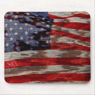 Wood grain flag mouse pad