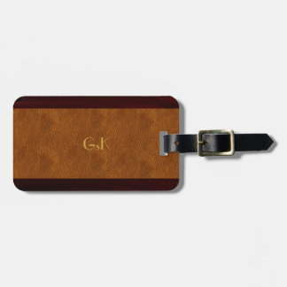 Wood Grain Gold Monogram Leather Luggage Tag
