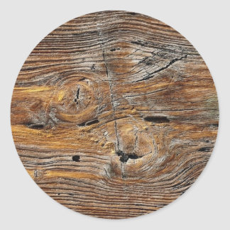 Wood grain, sheet of weathered timber round sticker