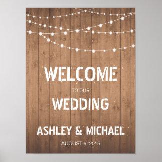 Wood Grain string lights Welcome wedding sign