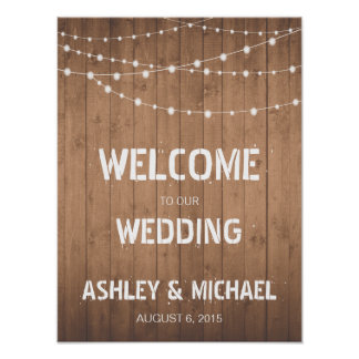 Wood Grain string lights Welcome wedding sign Poster