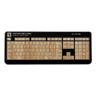 Wood Grain Style Print Your Photo and text on a Wireless Keyboard