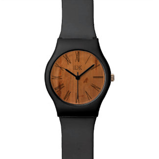 WOOD GRAIN | stylish face with roman numerals Wristwatch