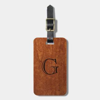 Wood Grain Texture | Rustic Monogram Luggage Tag