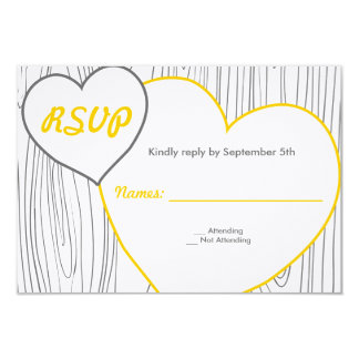 Wood Grain Wedding RSVP cards - Yellow and Grey 9 Cm X 13 Cm Invitation Card