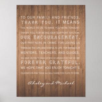 Wood Grain wedding thank you sign rustic