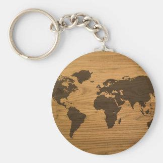 Wood Grain World Map Basic Round Button Key Ring