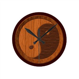 Wood Grain Yin Yang Novelty Wall Clock