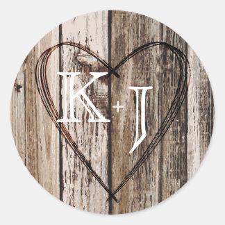 Wood Heart Etching Rustic Monogram Wedding Label Round Sticker