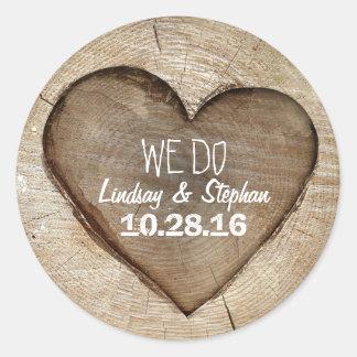 Wood Heart Rustic Wedding Round Sticker