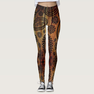 Wood Henna Tattoo - power Yoga put-went Leggings