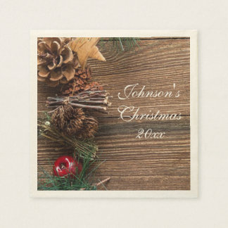 Wood & Holly Christmas Disposable Napkin