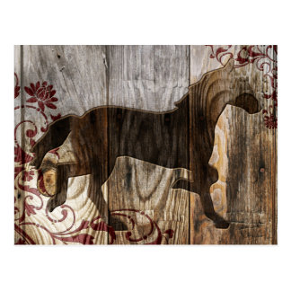 wood horse postcard