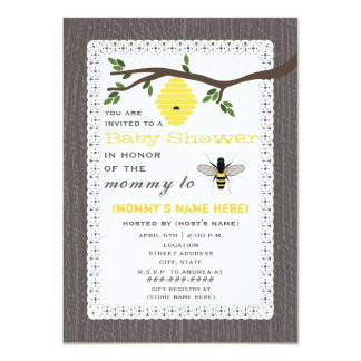 Wood Inspired Honey Bee Baby Shower 11 Cm X 16 Cm Invitation Card