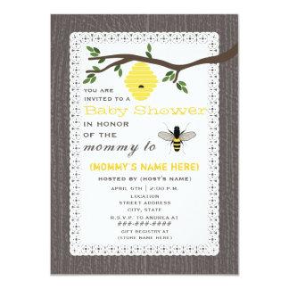 Wood Inspired Honey Bee Baby Shower 11 Cm X 16 Cm Invitation Card