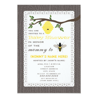 Wood Inspired Honey Bee Themed Baby Shower 13 Cm X 18 Cm Invitation Card