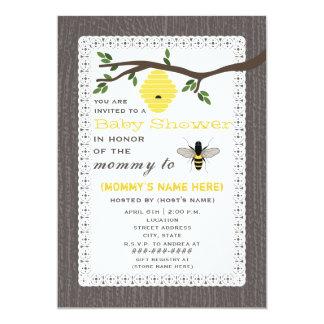 Wood Inspired Honey Bee Themed Baby Shower 13 Cm X 18 Cm Invitation Card