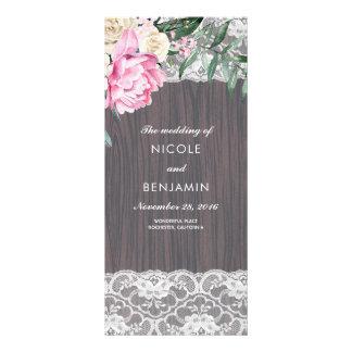 Wood Lace and Peony Vintage Wedding Programs Rack Card