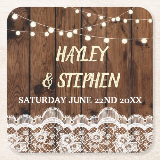 Wood Lace Coasters Rustic Wedding Party Lights