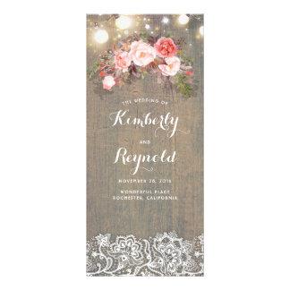 Wood Lace Floral Rustic Wedding Programs Rack Card