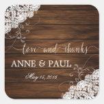 Wood & Lace Wedding sticker