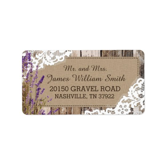 Wood Lavender and Lace Rustic Wedding Label Address Label