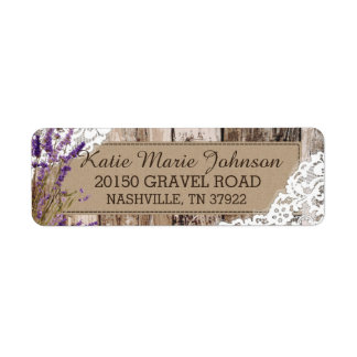 Wood Lavender and Lace Rustic Wedding Label Return Address Label