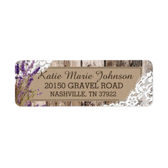 Wood Lavender and Lace Rustic Wedding Label Return Address Label
