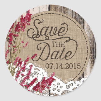 Wood Lavender Lace Rustic Save the Date Label