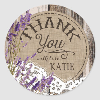 Wood Lavender Lace Rustic Thank You Label Round Sticker