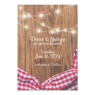 Wood Lights and Tablecloth Custom Save the Date Card