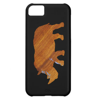 wood-look rhino animal iPhone 5C case