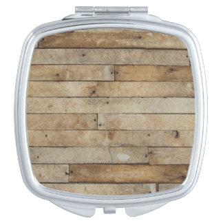 Wood Look Travel Mirror