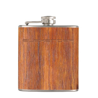 Wood look with custom engraved name hip flask