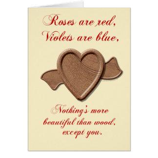 Wood Love Wooden Heart Card Template