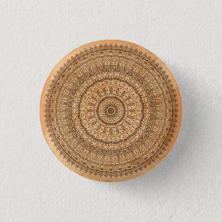 Wood mandala 3 cm round badge