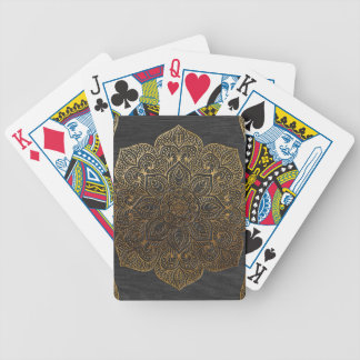Wood mandala-gold bicycle playing cards