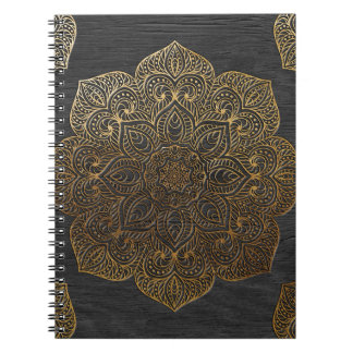 Wood mandala-gold spiral notebook