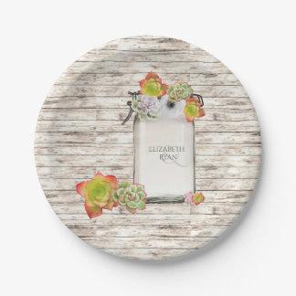 Wood, Mason Jar, Succulents, Wedding, Custom, 7 Inch Paper Plate