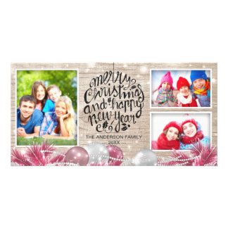 Wood Merry Christmas Happy New Year Greeting Photo Photo Card Template