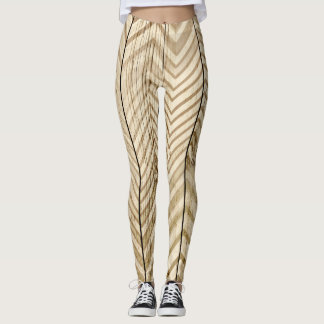 Wood & Metallic Chevron Stripe Leggins Leggings