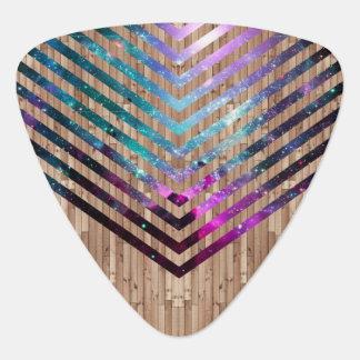 Wood nebula chevron guitar pick